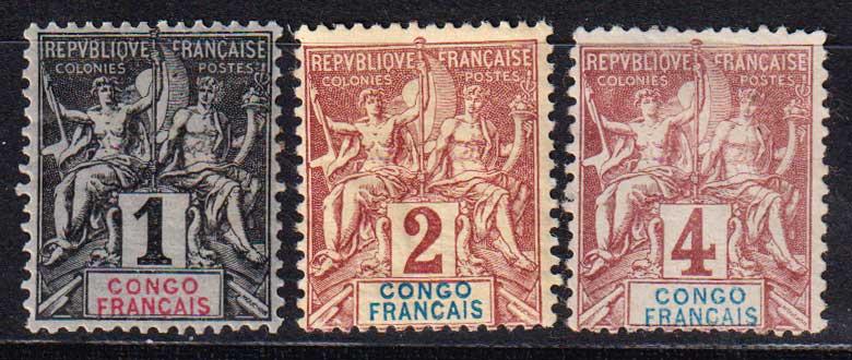 """1892 Французское Конго. Надпись: """"CONGO FRANCAIS"""" - цветная бумага. [imp-14366_gt] 1"""