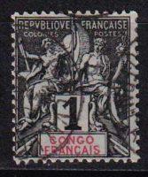 """1892 Французское Конго. Надпись: """"CONGO FRANCAIS"""" - цветная бумага. [imp-14366_gt] (Копировать) 3"""