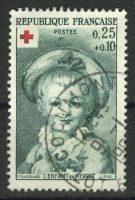 """1962. Франция. Серия """"Фрагонар (1732–1806) """"Младенец в Пьеро. Красный крест"""", 1/2, (•) [imp-15043] 9"""