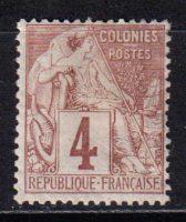 1881-1886 Французские Колонии, общий выпуск. Алфе Дюбуа - Цветная бумага. 4с [imp-14395_gt] 11
