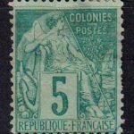 1881-1886 Французские Колонии, общий выпуск. Алфе Дюбуа - Цветная бумага. 5с [imp-14396_gt] 4