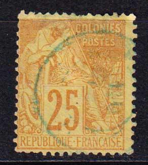 1881-1886 Французские Колонии, общий выпуск. Алфе Дюбуа - Цветная бумага. 25с [imp-14402_gt] 1