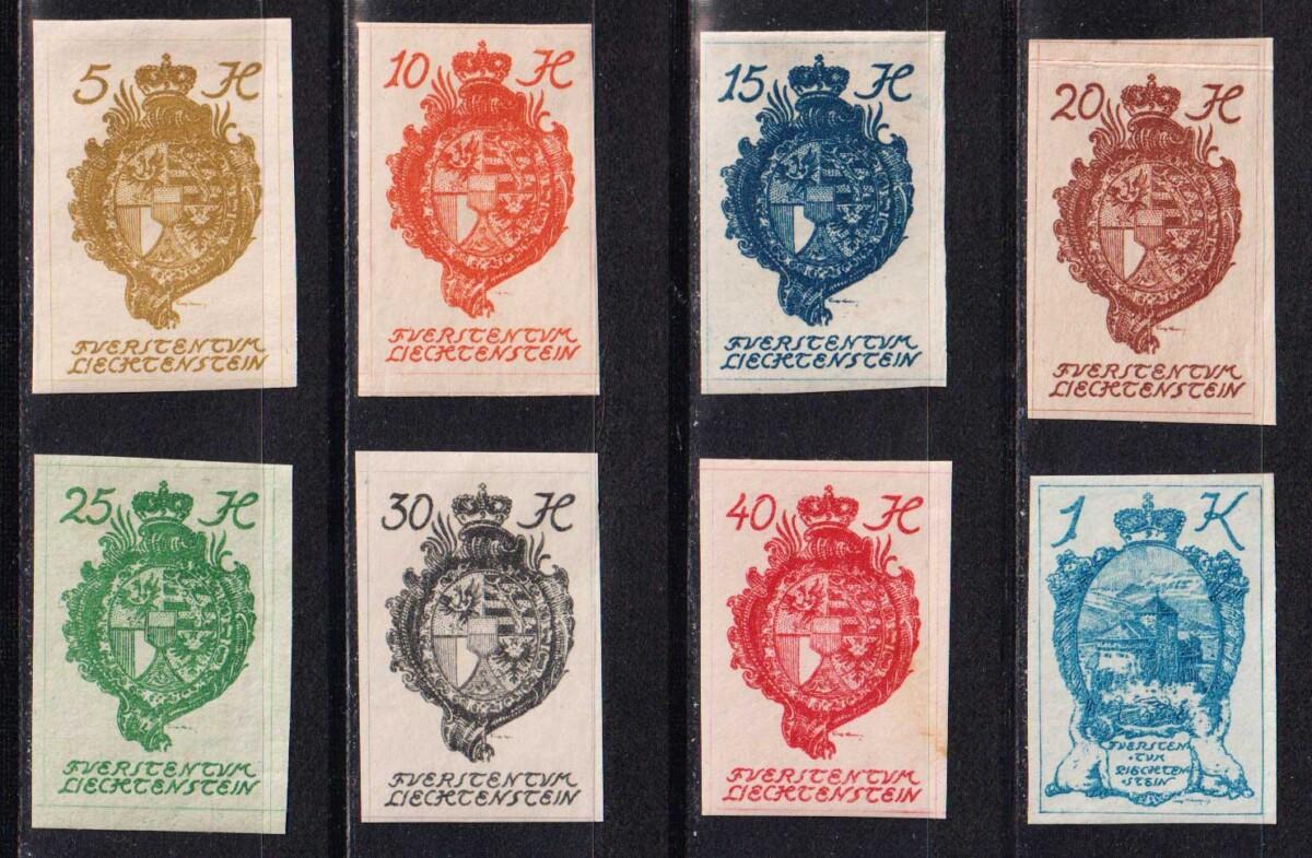 1920 Лихтенштейн. Национальный герб и замок в Вадуце [imp-14430] 1