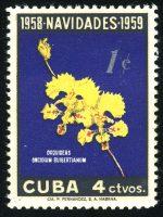 """1958. Куба. Серия """"Рождество - Орхидеи. Oncidium guibertianum"""", 1/2, ** [15178] 3"""