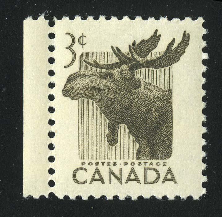 """1953. Канада. Серия """"Национальная неделя дикой природы. Alces alces"""", 1/3, с полем, ** [15260] 1"""