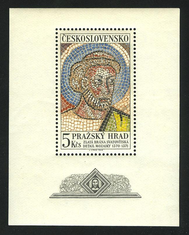 "1968. Чехословакия. Блок ""Голова Святого Петра, мозаика из Собора Святого Вита"", ** [15387] 1"