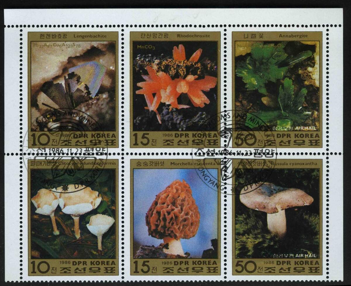"""1986. Северная Корея. Авиапочта. Лист """"Минералы, грибы"""", (//) [KPD2898-2903_1] 1"""