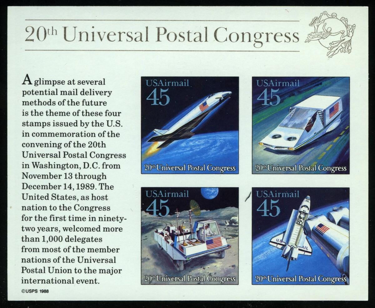 """1989. США. Блок """"20-й Всемирный почтовый конгресс. Космос, Выставка World Stamp Expo '89"""", USAirmail, ** [US113‑116_1] 1"""