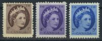 """1954. Канада. Серия """"Королева Елизавета II"""", 3/6, ** [CA285,288,289] 2"""