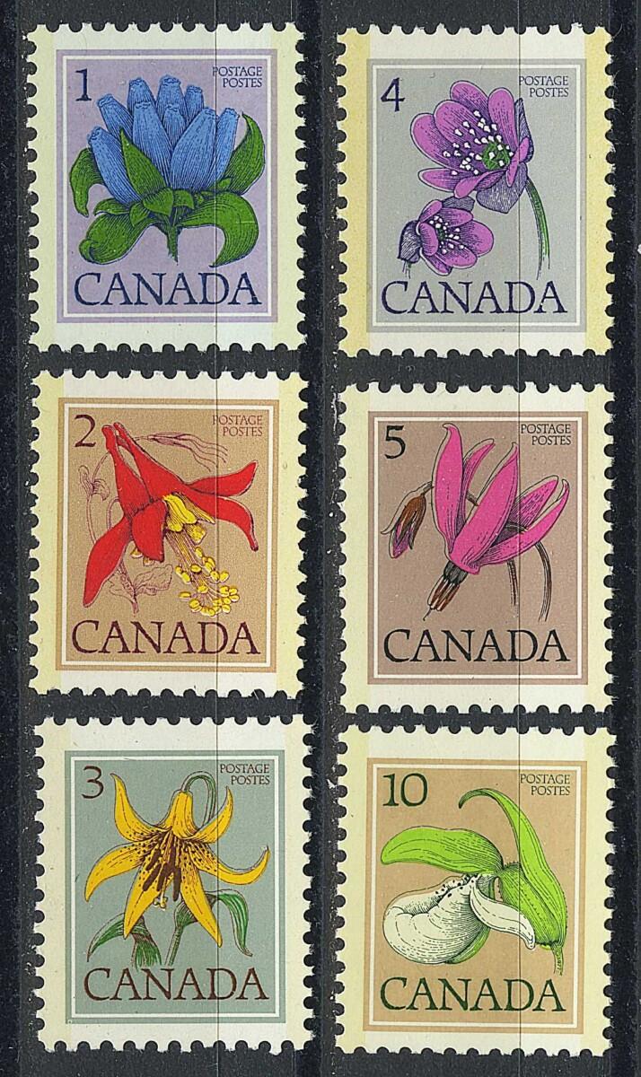 """1977. Канада. Серия """"Дикие цветы"""", 6/6, УФ, ** [CA651‑656] 1"""