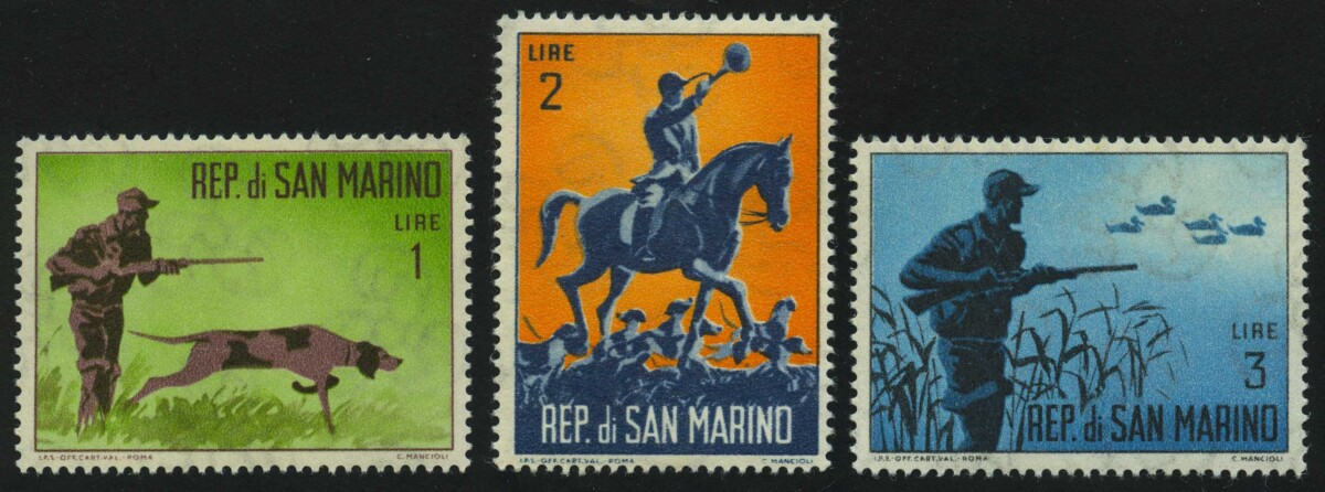 "1962. Сан-Марино. Серия ""Охота"", 3/10, ВЗ, * [SM748-750] 1"