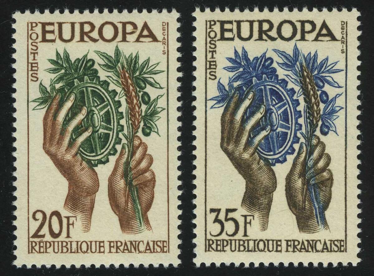 """1957. Франция. """"Марки """"ЕВРОПА"""", 2/2, ** [FR1150‑1151] 1"""