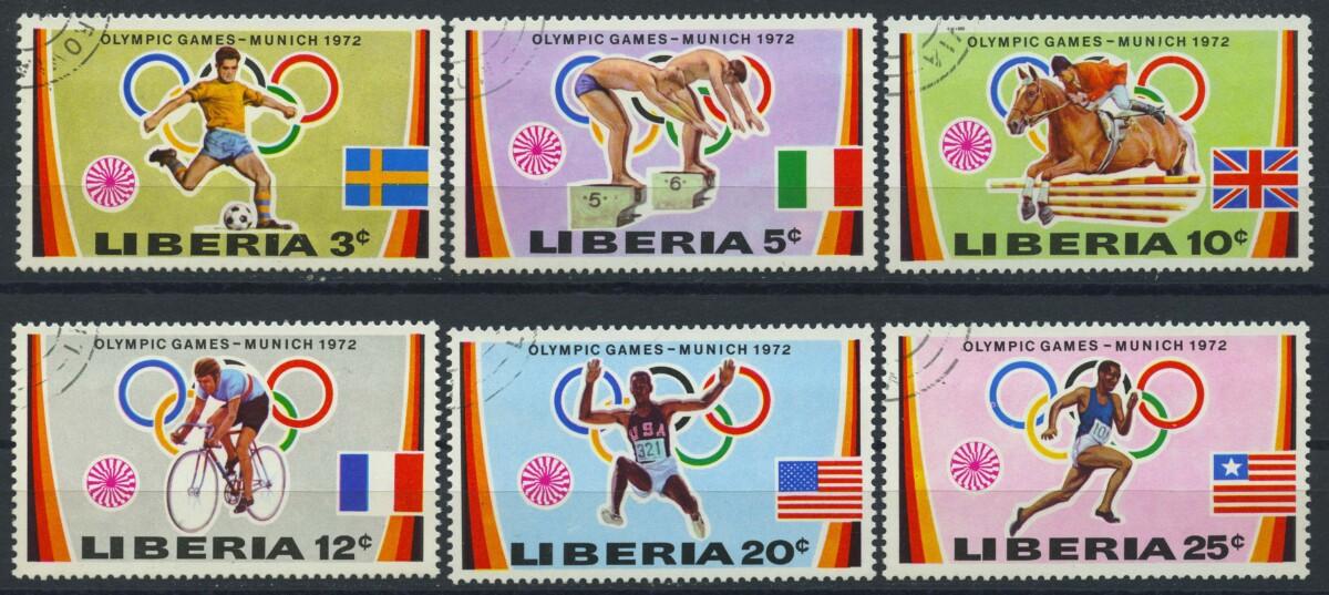 """1972. Либерия. Серия """"Олимпийские игры - Мюнхен, Германия"""", (//)** [LR891‑896] 1"""