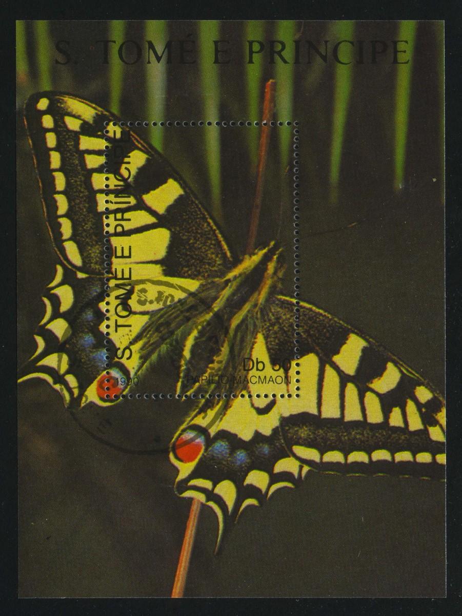 """1990. Сан-Томе и Принсипи. Блок """"Бабочка. Swallowtail (Papilio machaon)"""", 78 x 106 мм, (//)** [ST1180_1] 1"""
