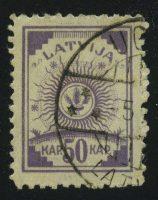 """1920. Латвия. Серия """"Герб"""" 50K, 1/8, 11½, (•) [LV37] 28"""