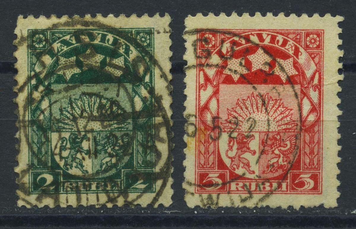 """1921. Латвия. Серия """"Герб"""" 1/10, (•) [LV66,68] 1"""