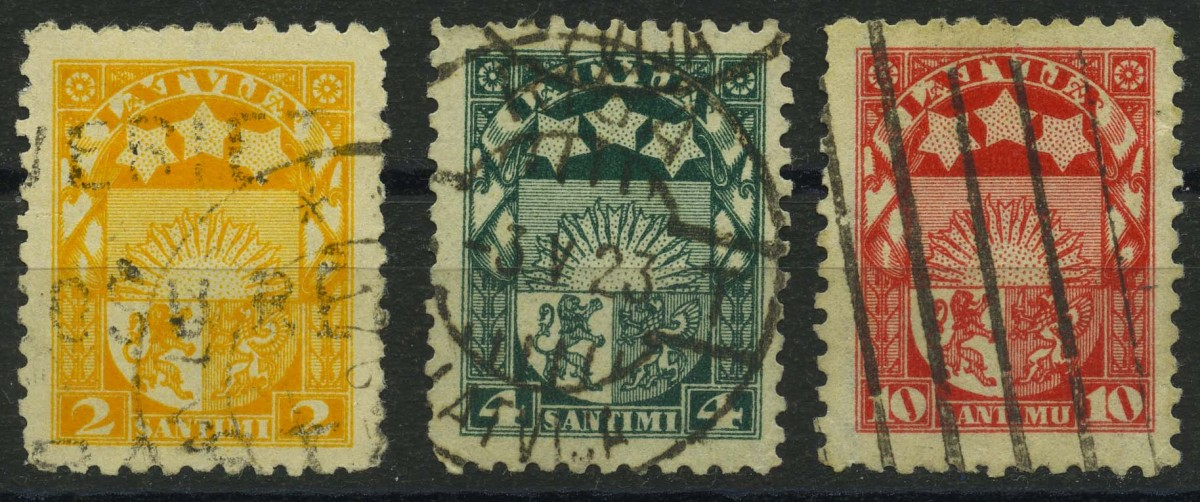 """1923. Латвия. Серия """"Герб"""" 3/10, (•) [LV77-79] 1"""