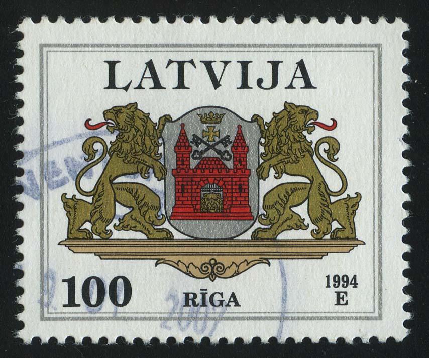 """1994. Латвия. Серия """"Гербы. Рига"""", 1/4, (•) [LV343] 1"""